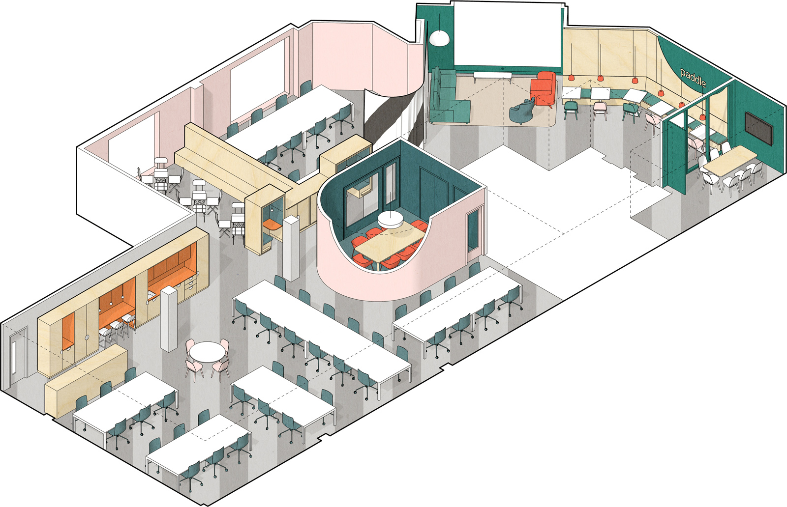Isometric drawing of the overall space
