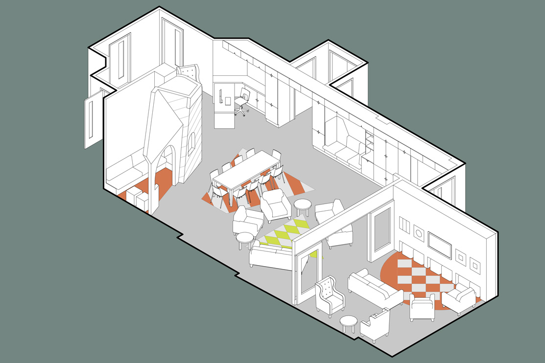 Isometric view of the inpatient open space