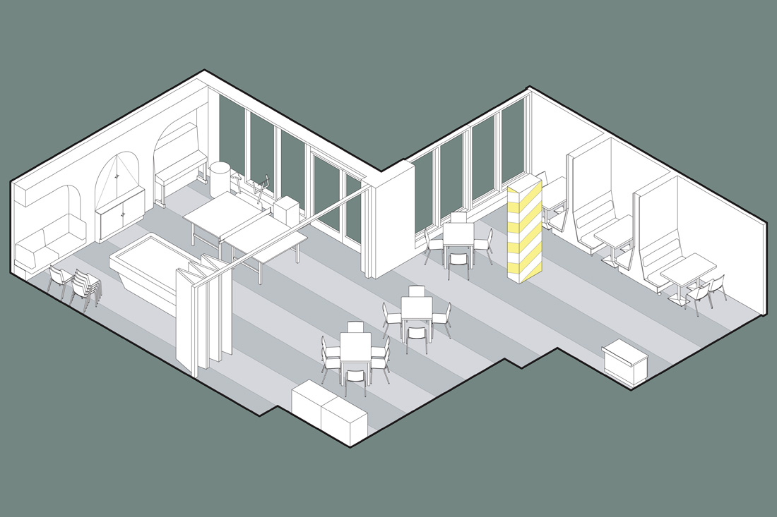 Isometric view of the shared dining and games room