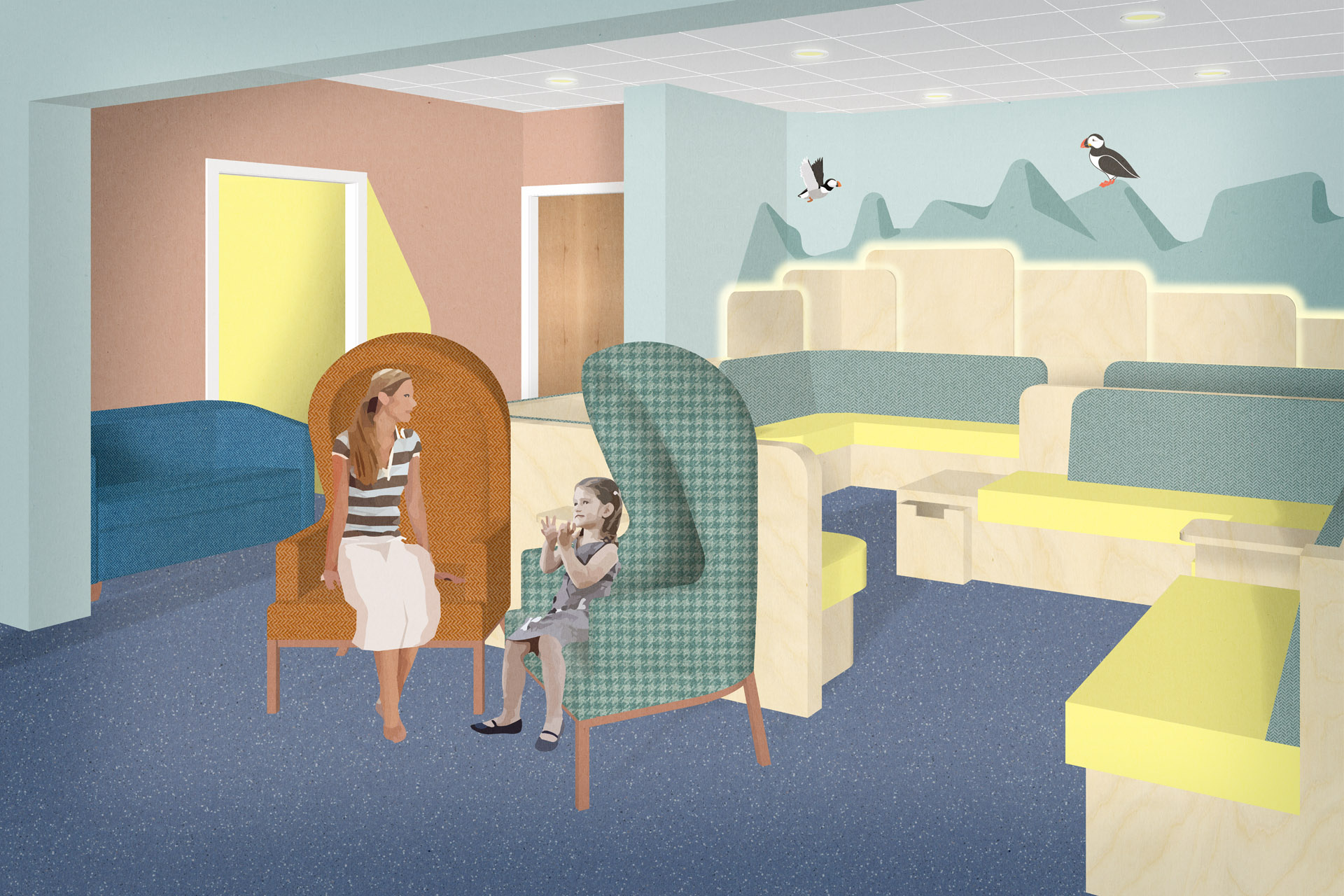Waiting room with bespoke seating and illuminated wall illustrations