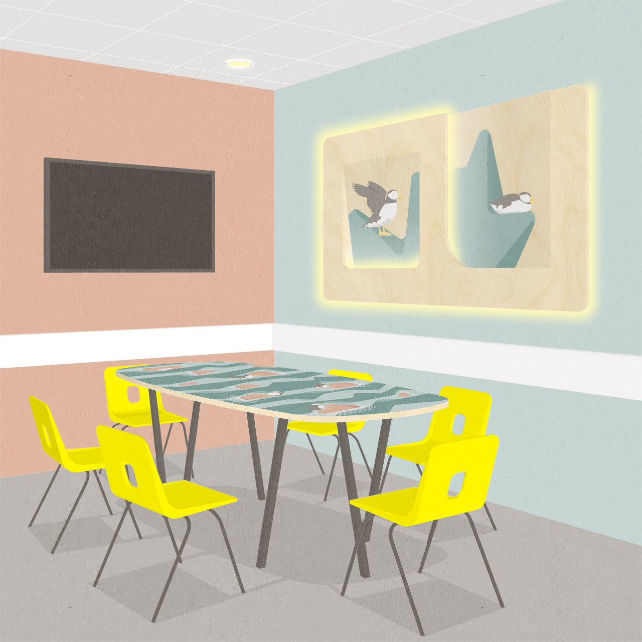 Custom table top and wall illustrations in group room
