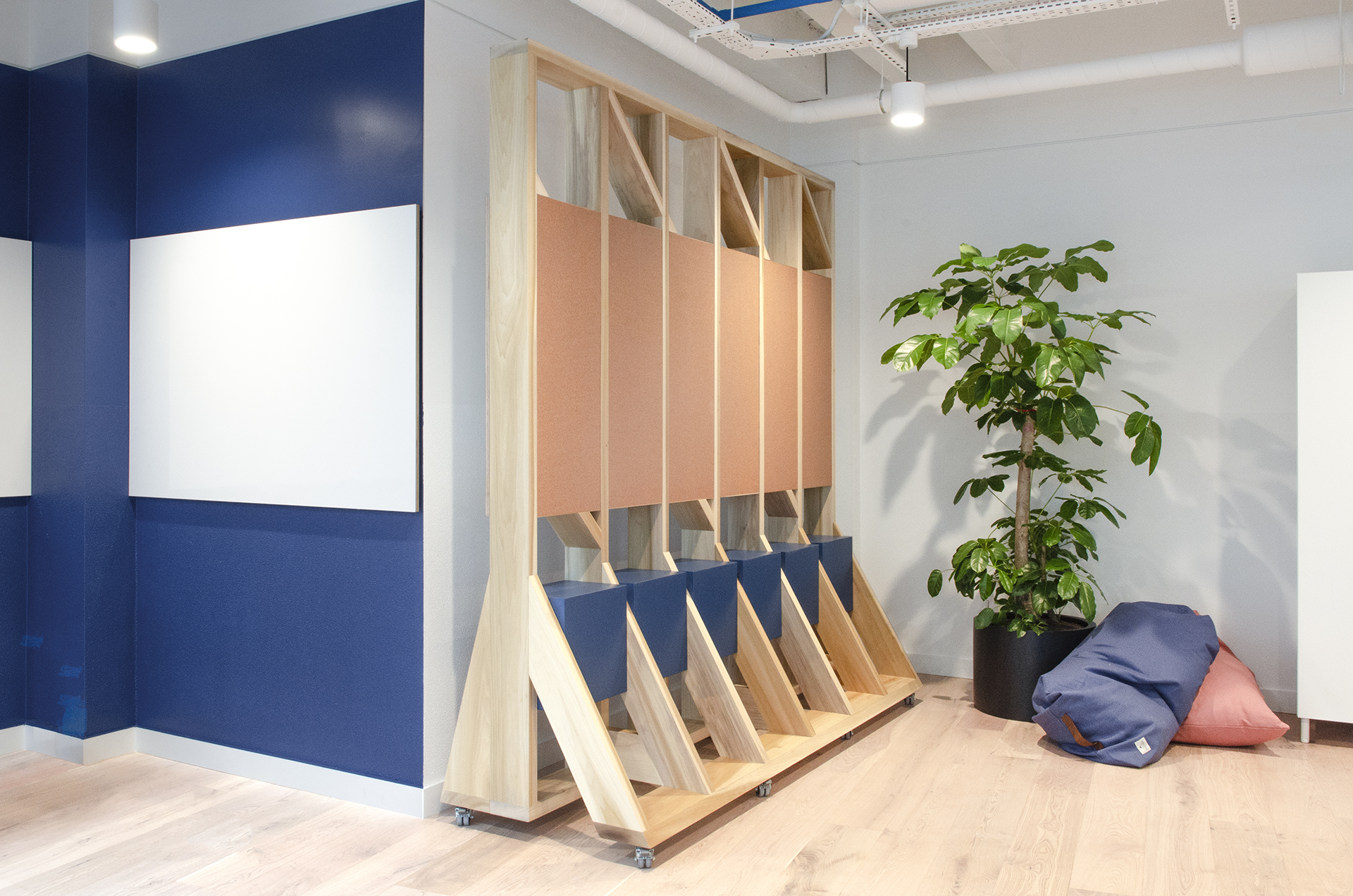 Movable screen with storage, cork board and whiteboard.