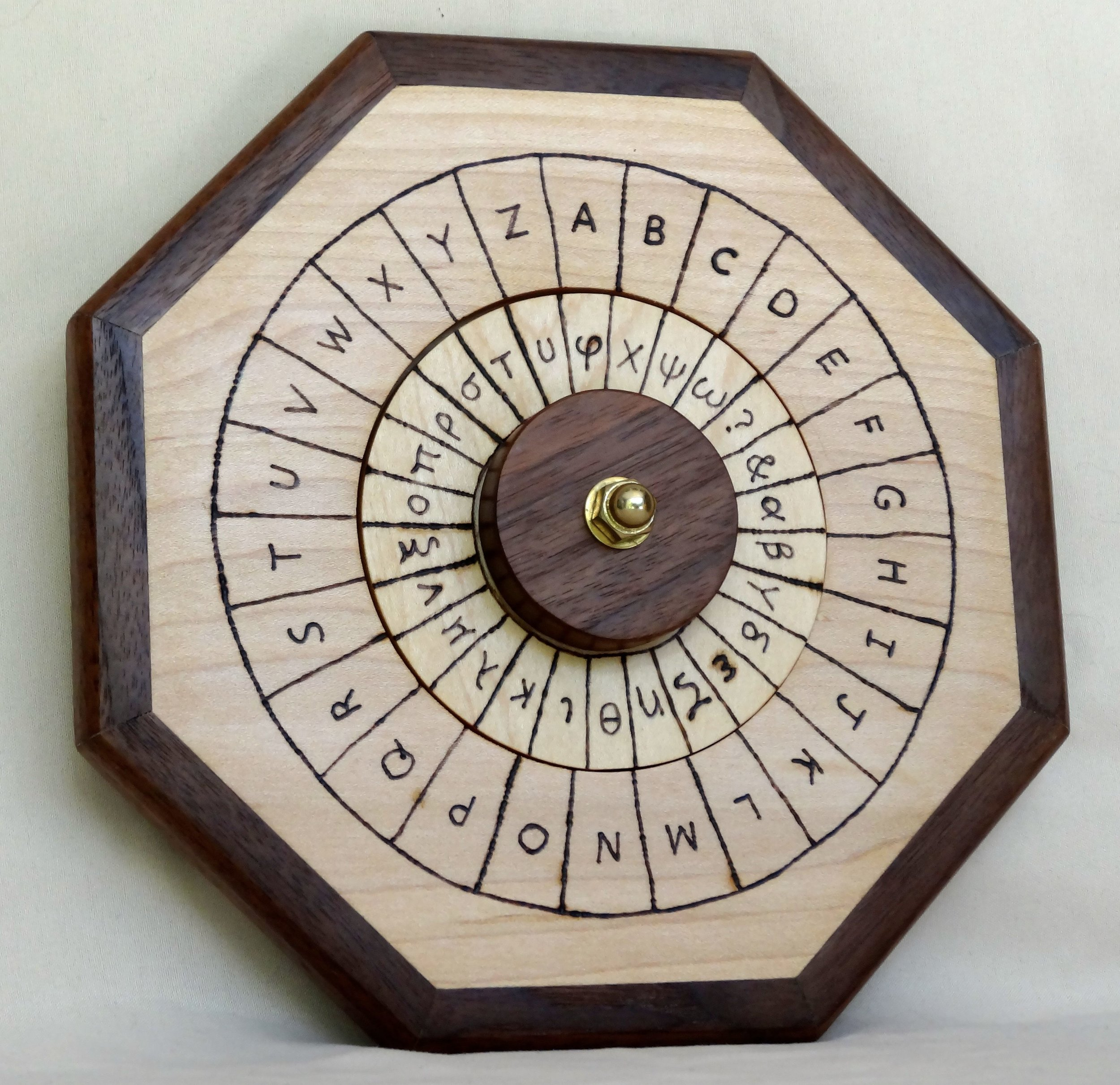 Cipher Wheel - Maple - Greek - Front Angled.jpg