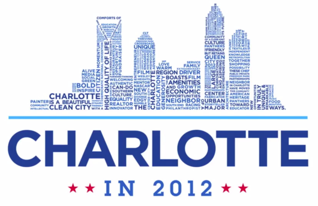 The Charlotte in 2012 logo  reflects the Queen City's skyline and is constructed with words that both tell a short story and reflect the input of hundreds of Charlotte-Mecklenburg citizens sharing what they love most about their community.  (collaborative credit to K2Forma)