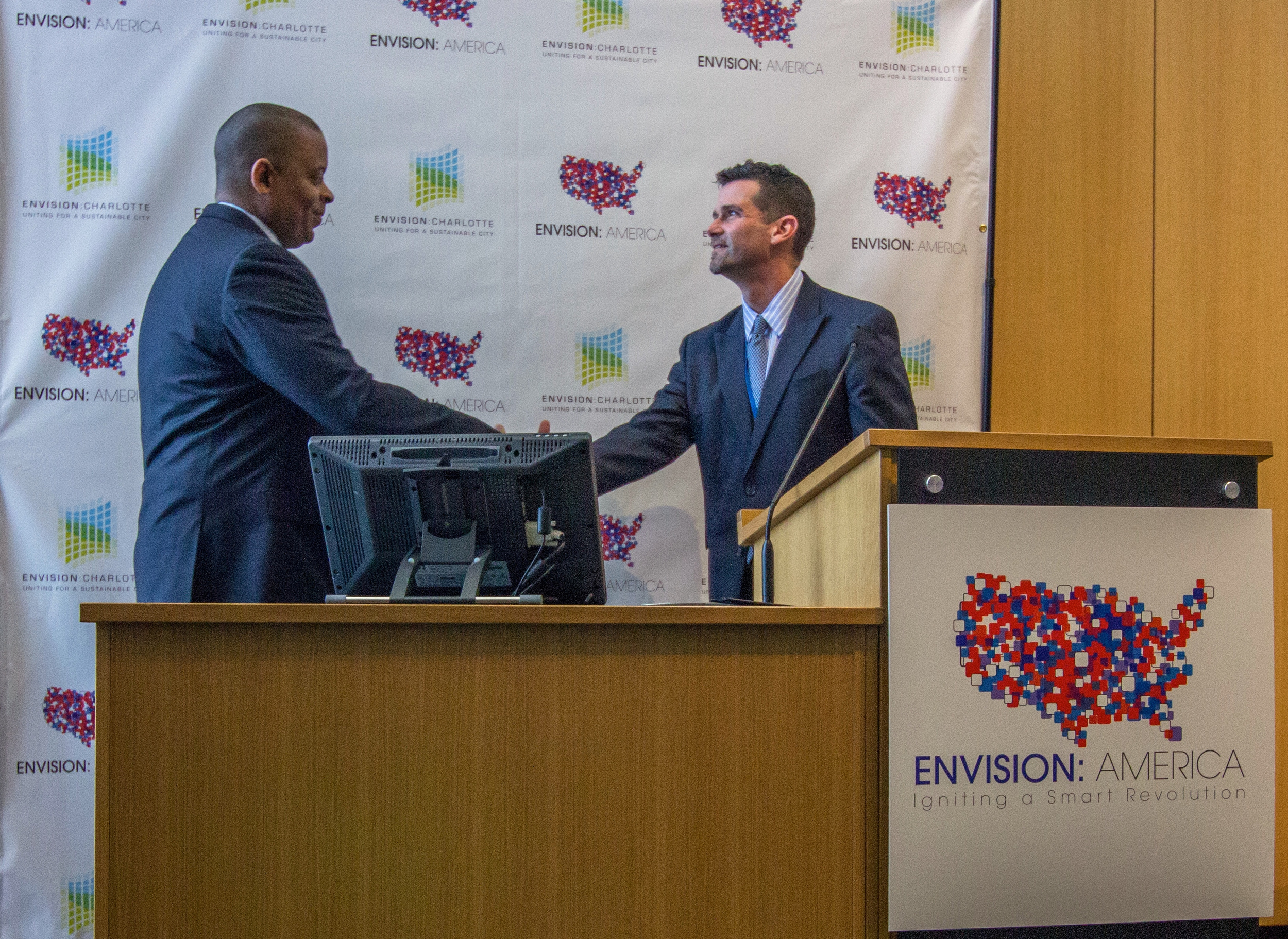 SOLID Principal Tracy Russ introduces US Transportation Secretary Anthony Foxx on day three of Envision America