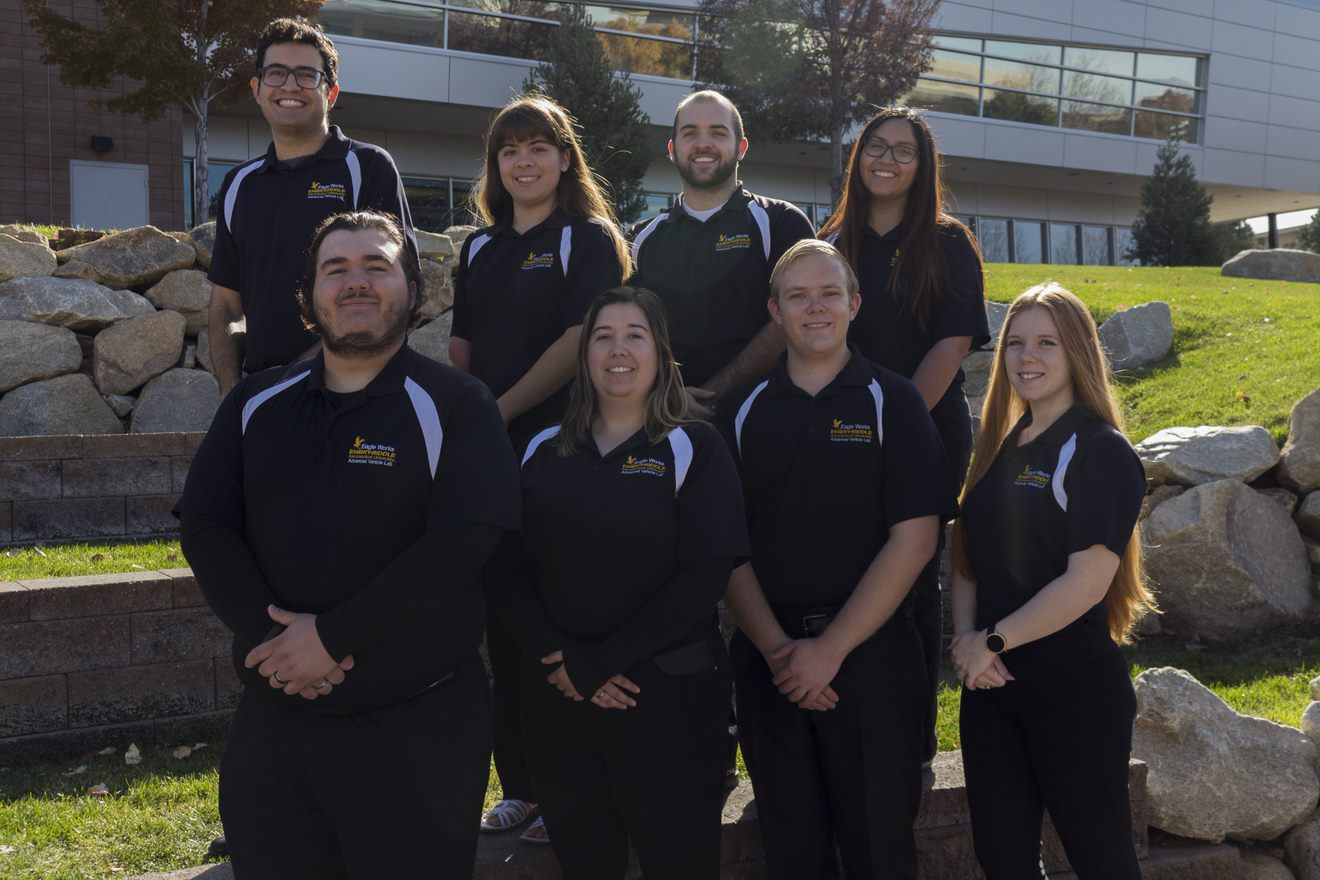 Eagle Works Directors - Fall 2018.    Back row: Reece Ticotin, Emily Hay, Robbie Konieczny, Michelle Luna ;                       Front row: Sean Rager, Andreea Hauser, Matthew Norris, and Julia Milhaylov.