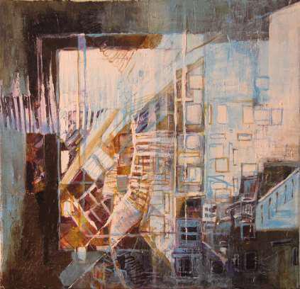 """Bilden  """"Mellanrum""""  från 2012 är en akrylmålning av Jenny Butler."""