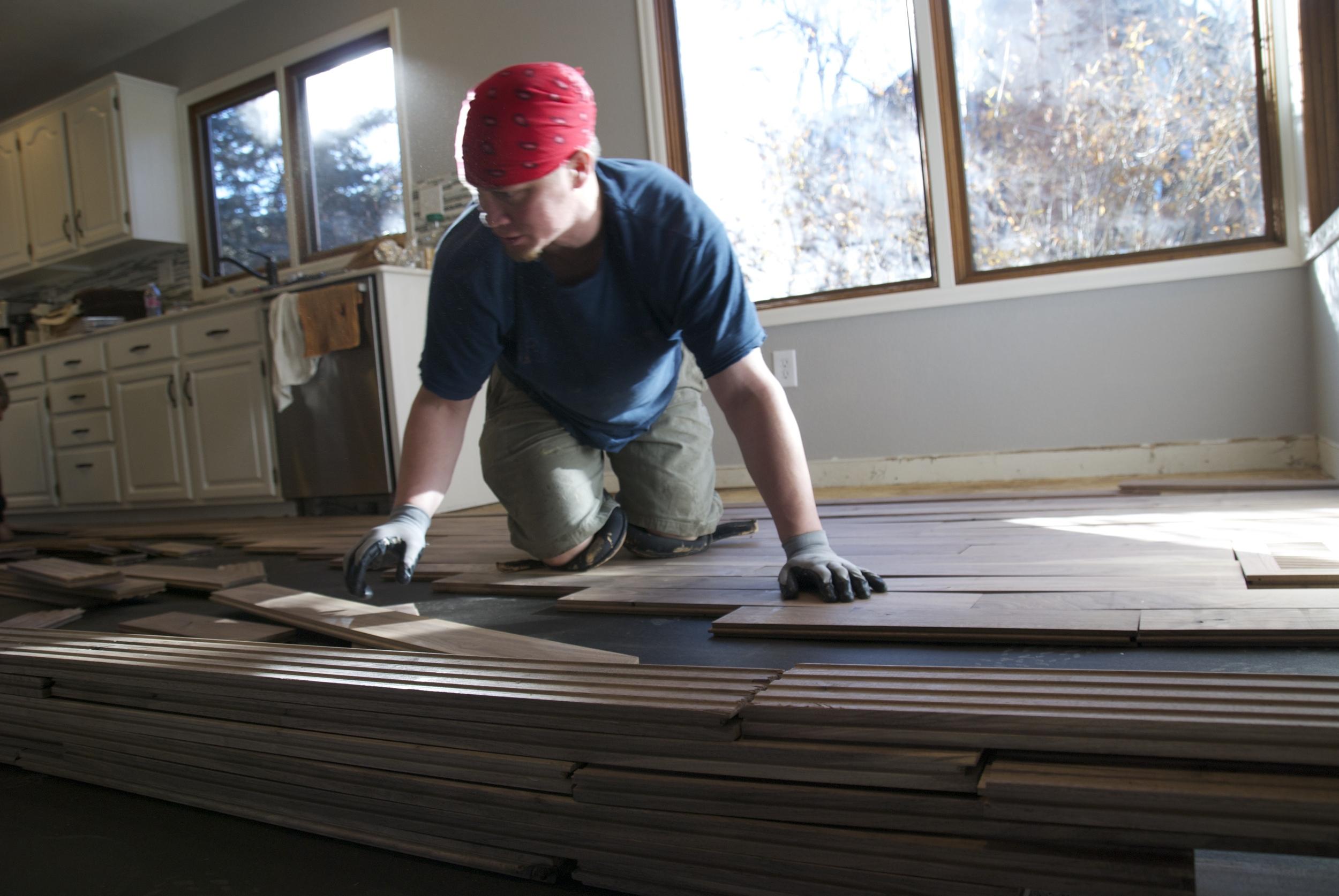 Steve Clifton of ASA Flooring assembling hardwood floors in Denver