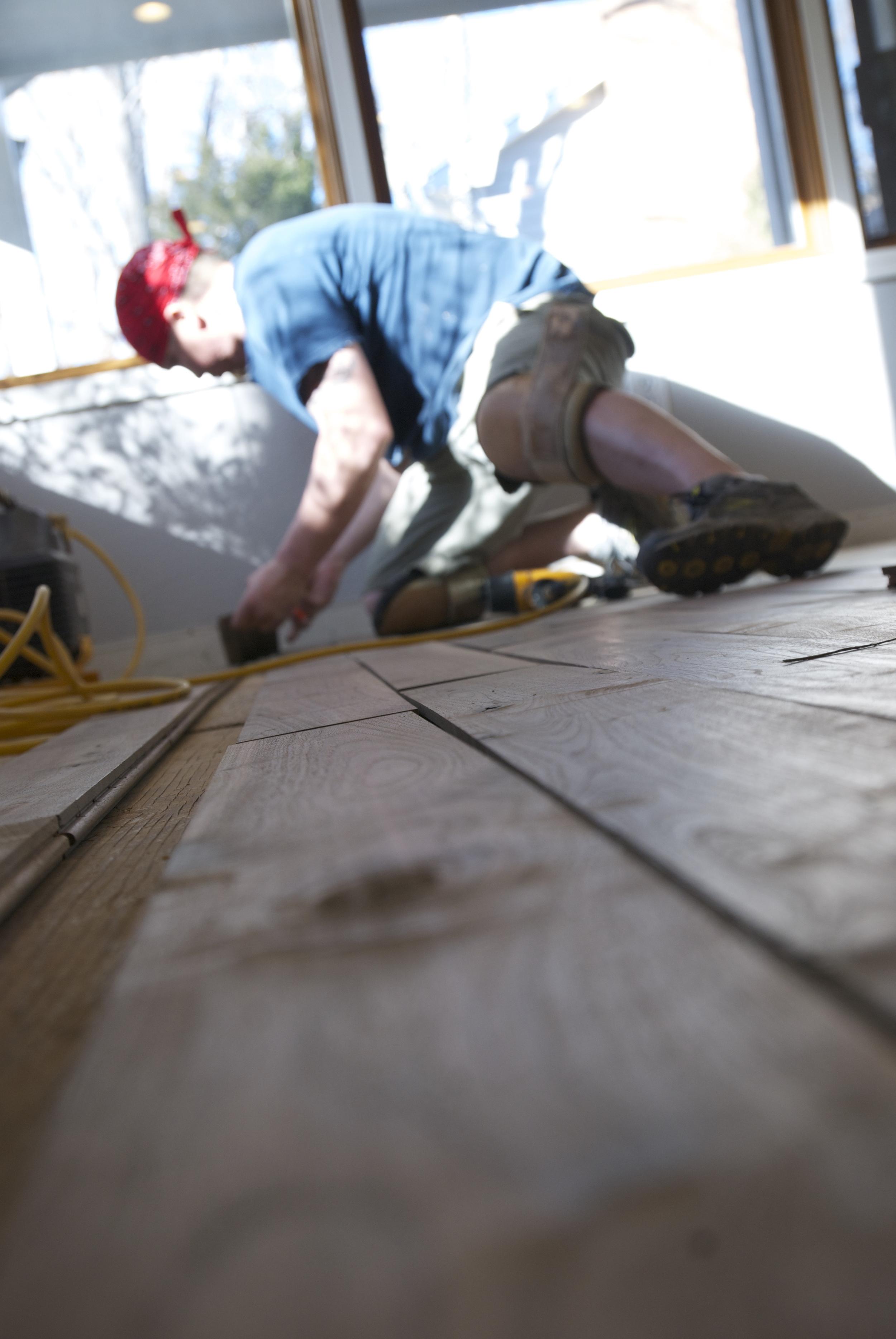 Steve Clifton of ASA Flooring refinishing hardwood floors in Denver