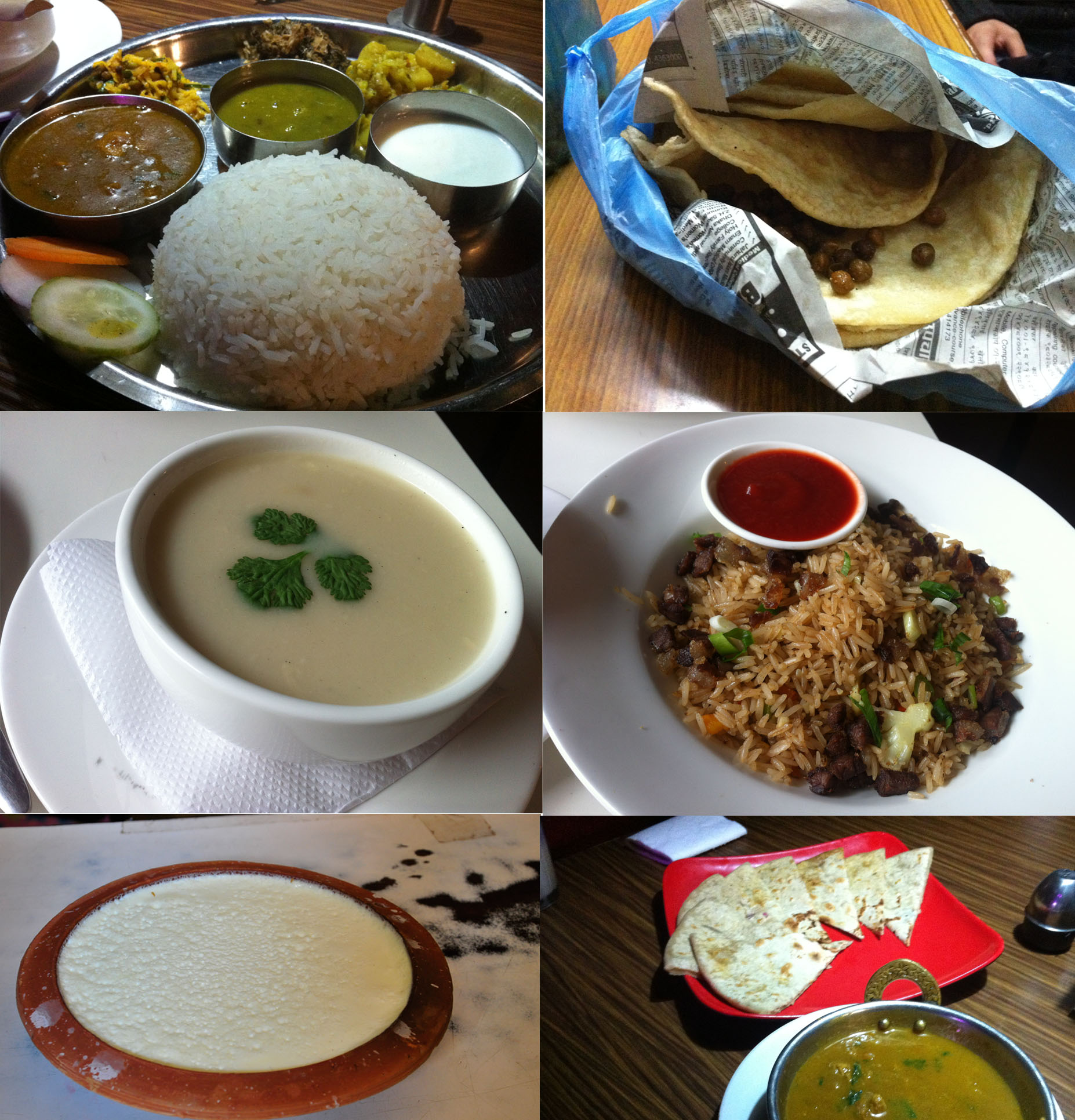 1st: Nepali set dinner; 2nd: pancake (I can't say how simple the wrap is, anyway I tried the REAL local street food); 3rd: chicken soup; 4th: chicken fried rice; 5th: handmade yogurt; 6th: nana, local food.