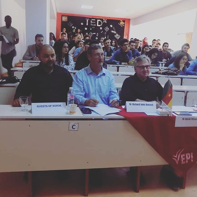 Our CEO Richard Howard and Our DNM Tunisia Manager Amine Jammoussi @dreamsnmotiontunisia had the honor to be invited via the Tunisian American Chamber of Commerce to participate as a judge on an international panel for a English language competition at the international private university on April 25th #EPIlanguagecenter #competition #partnership