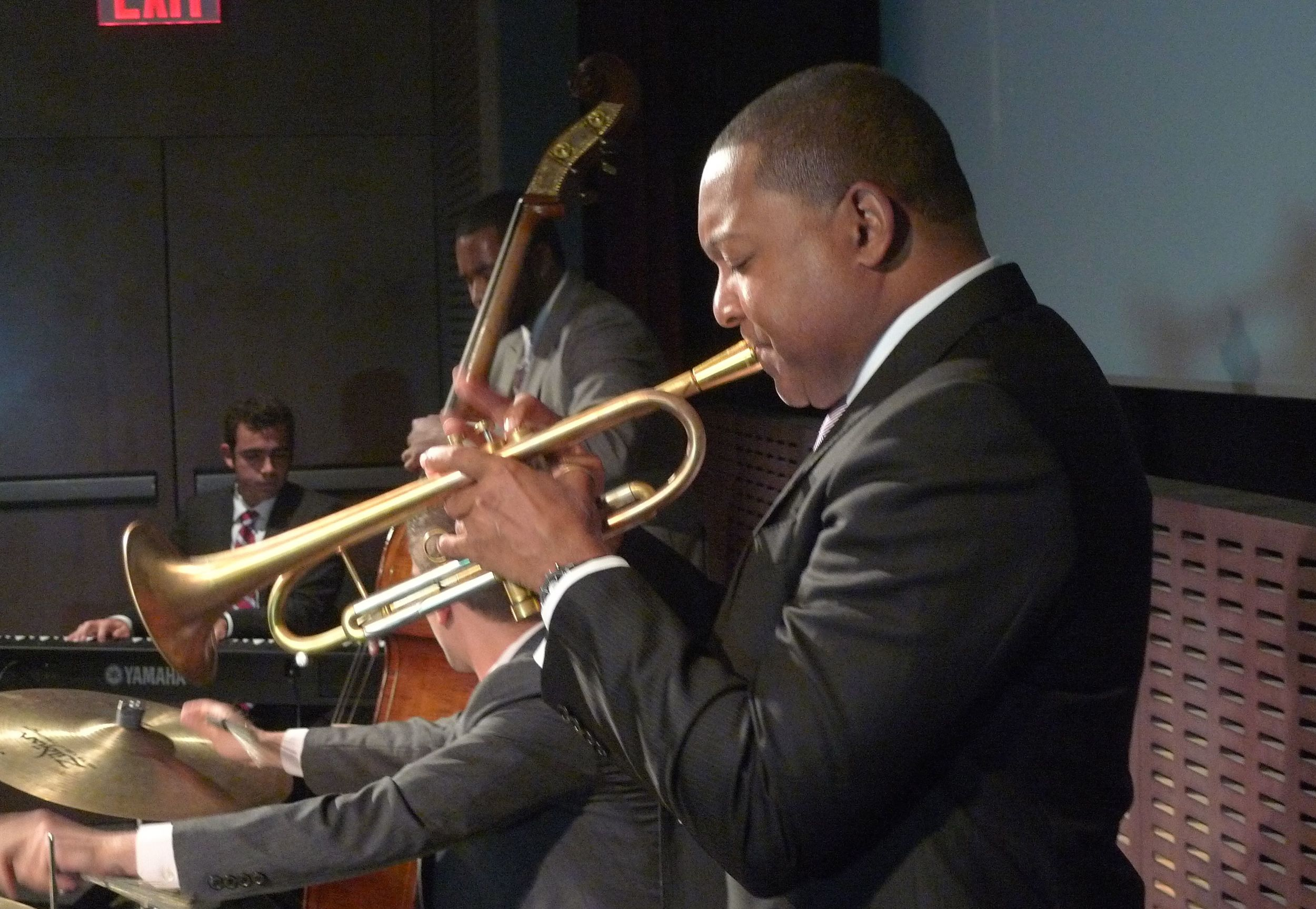 Wynton Marsalis performing with students for the premier of HBO's  Masterclass with Wynton Marsalis .