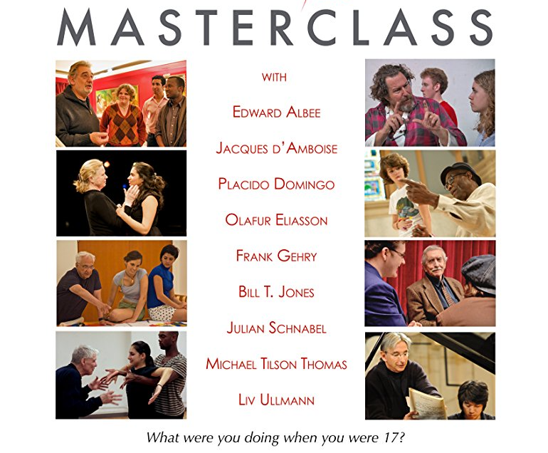 "In this three season Emmy-winning HBO Family documentary series, ""Masterclass,"" a world-class artist works intimately with a small group of exceptionally talented teenagers from the YoungArts program. The artist, in turn, is reminded that these encounters are a two-way street, with the teacher re-learning important truths from eager students.  http://www.imdb.com/title/tt1634099/"