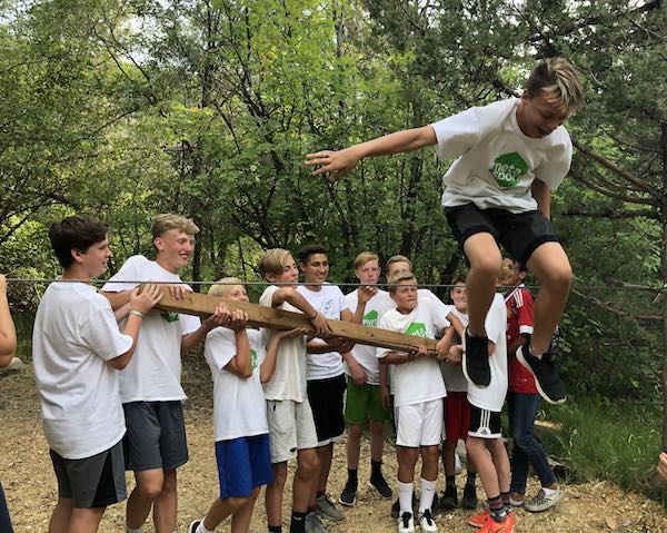Team building exercise during annual MetaSport FC Summer Retreat and soccer camp.