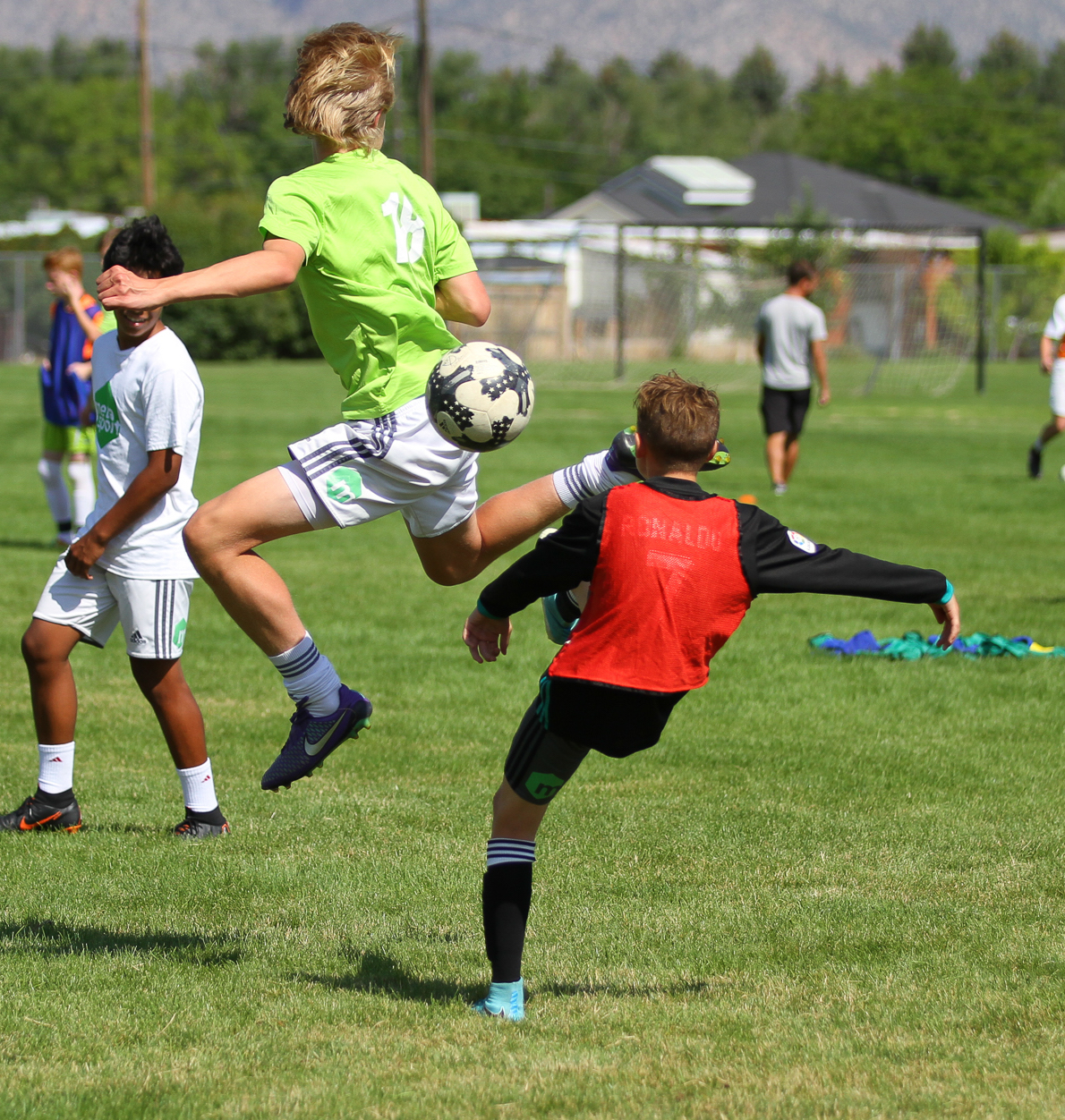 Two players during a scrimmage at MetaSport's Annual Summer Retreat,