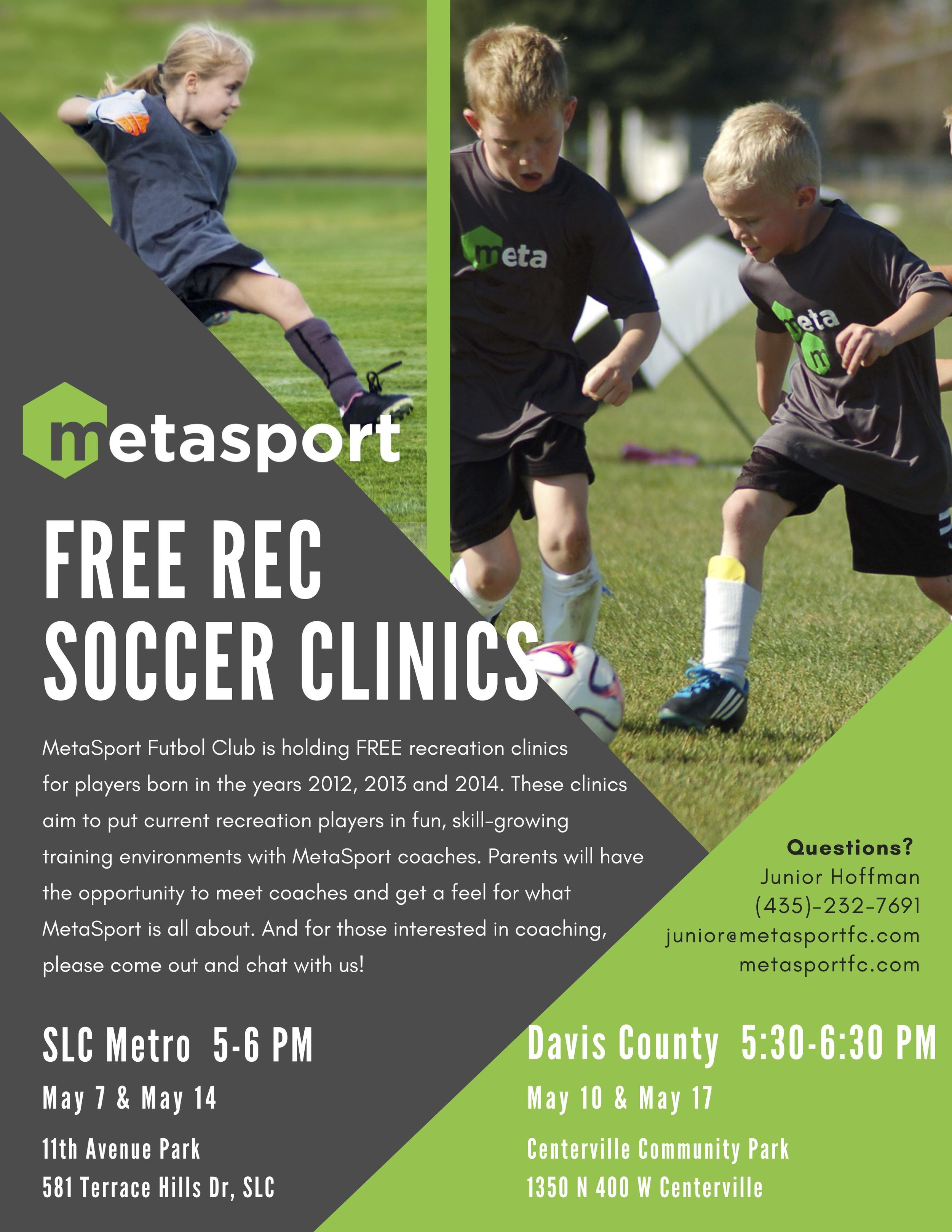 MetaSport FC flyer offering Free Soccer Recreation Player Spring Clinics.