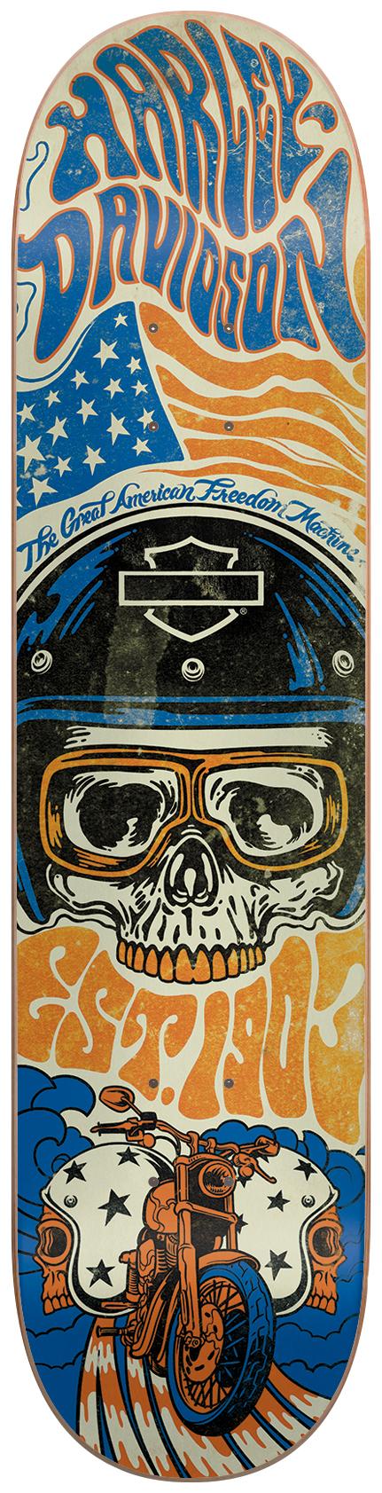 Default, Noir Darkstar Deck De Skateboard Harley Davidson Emboss 8 inch Noir