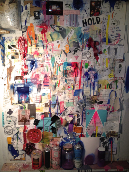 Buening's studio wall. Image courtesy of the artist
