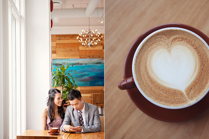engaged couple drinking coffee