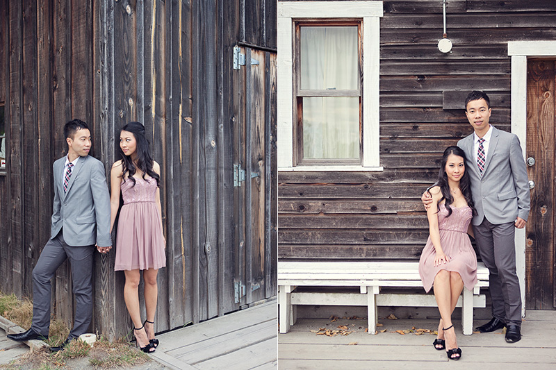 engaged couple in front of old wooden house
