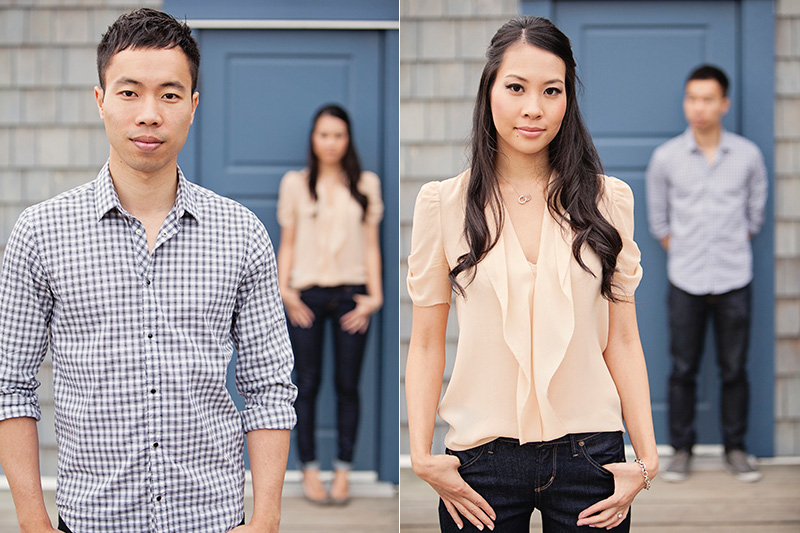 portraits of engaged couple with shallow depth of field