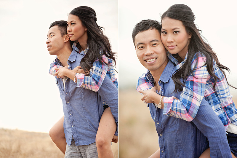 man giving his fiance a piggy back ride