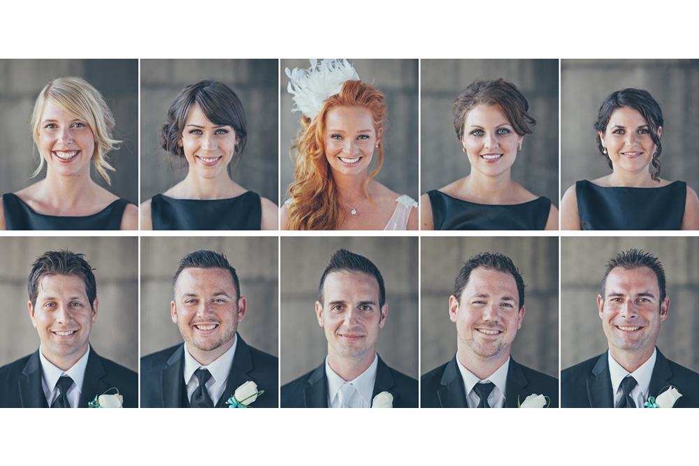 Portraits of a wedding party