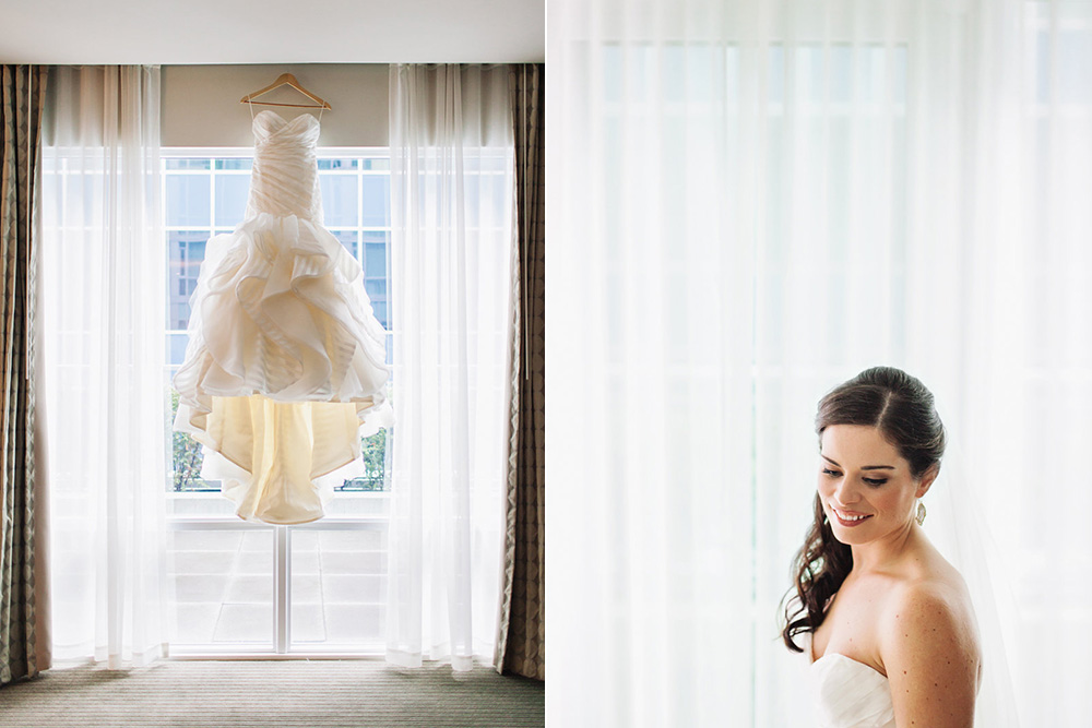 Vancouver Wedding Photo: Wedding dress hanging in a hotel window
