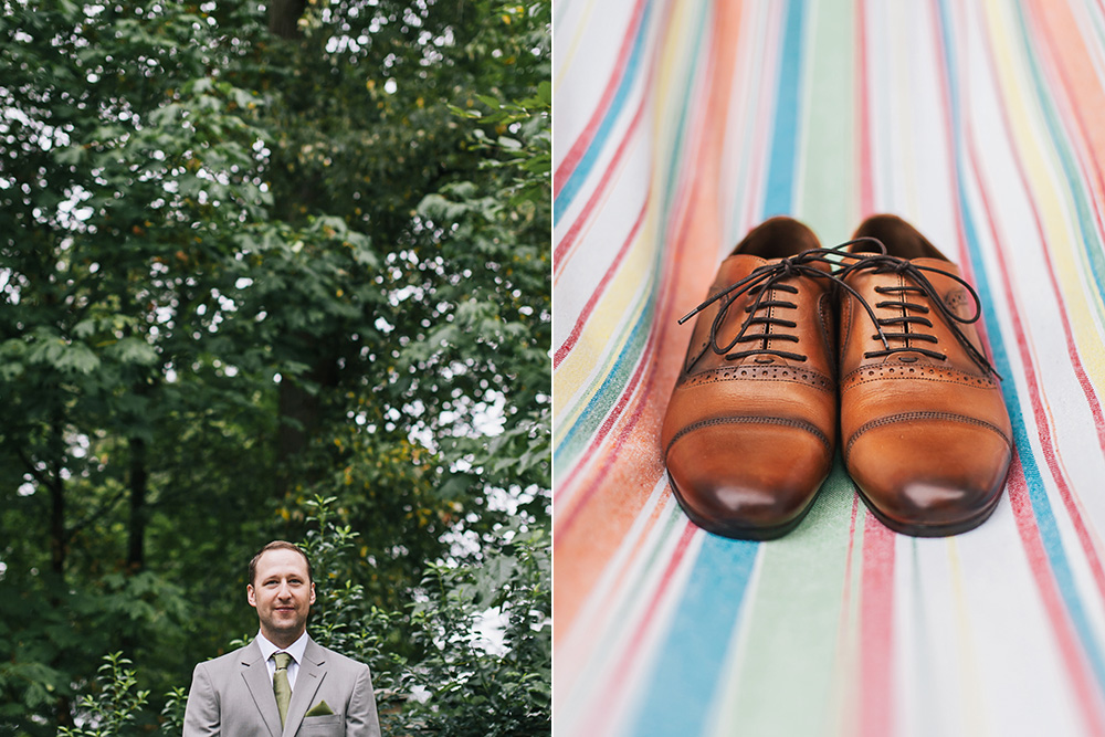 Vancouver Wedding Photo: A groom's shoes on a colourful blanket