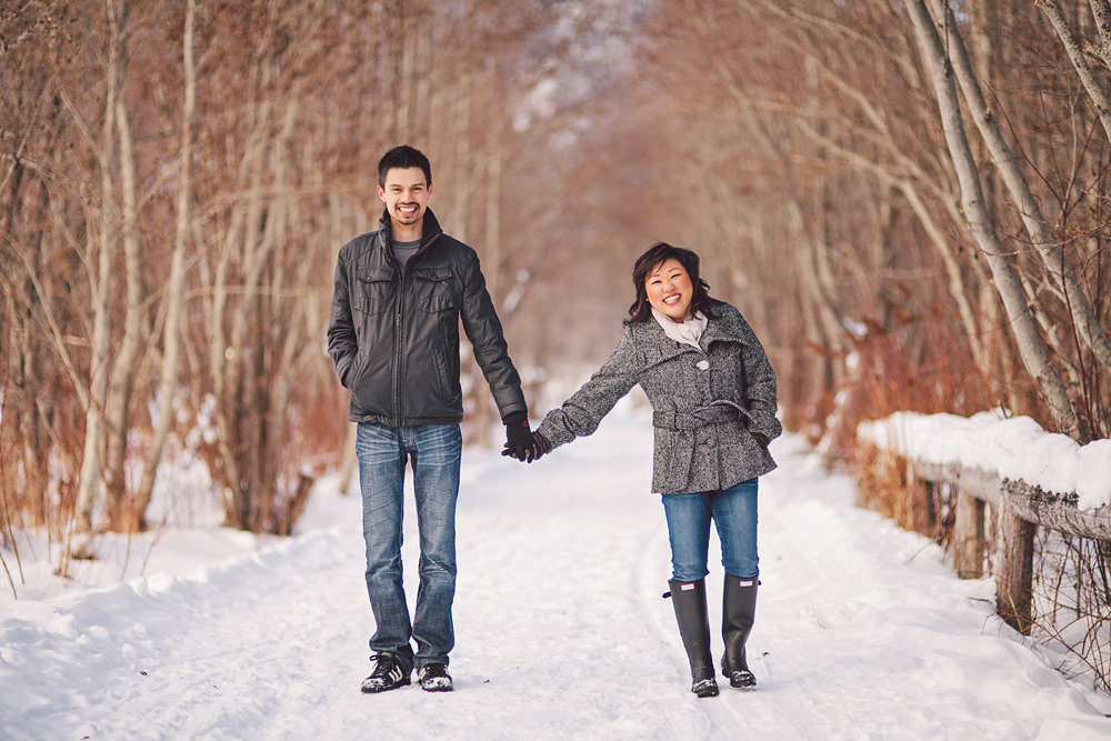 Vancouver portrait photography: portrait of couple in the snowy forest