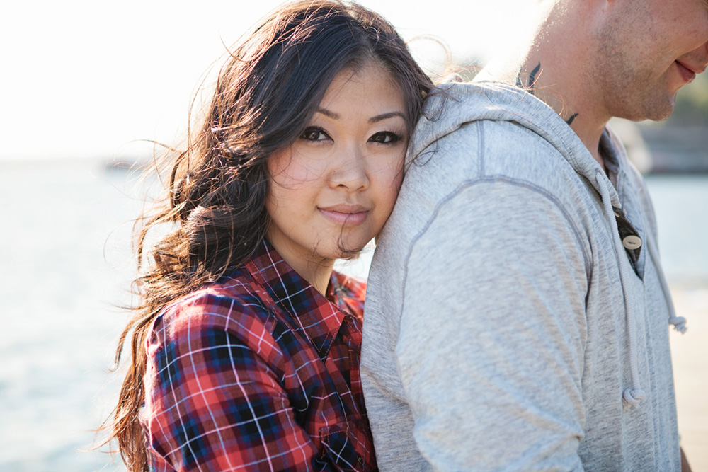 portait of a girl leaning her head on fiance by Vancouver portrait photographer