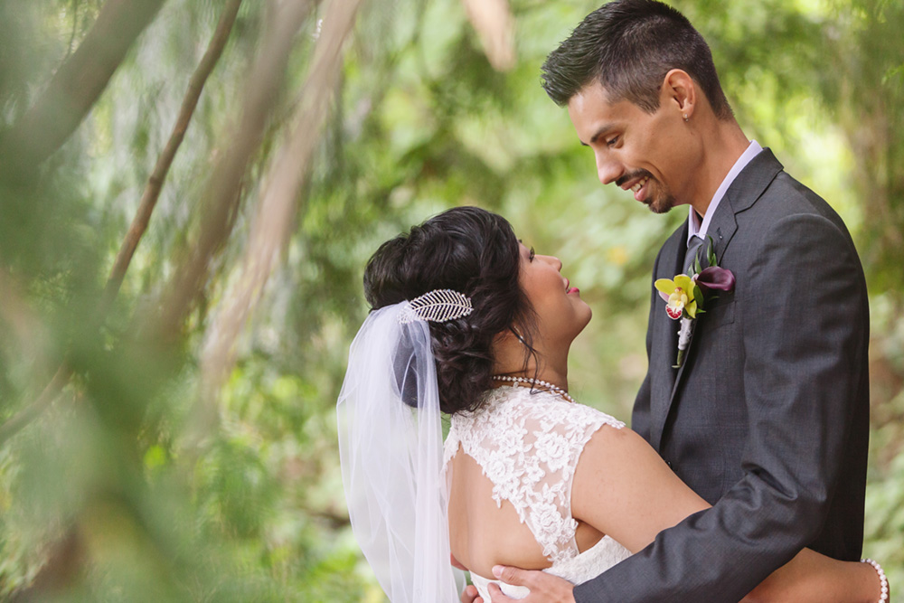 Vancouver wedding photos: bride and groom in forest