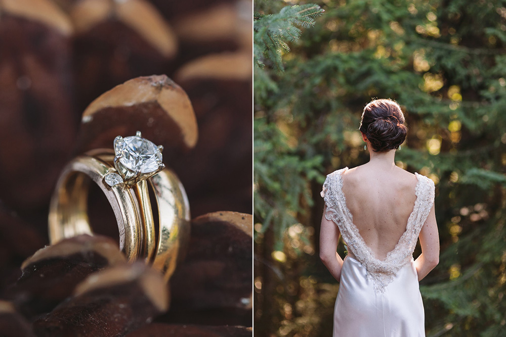 ring in pinecone, brides back by Vancouver wedding photographer