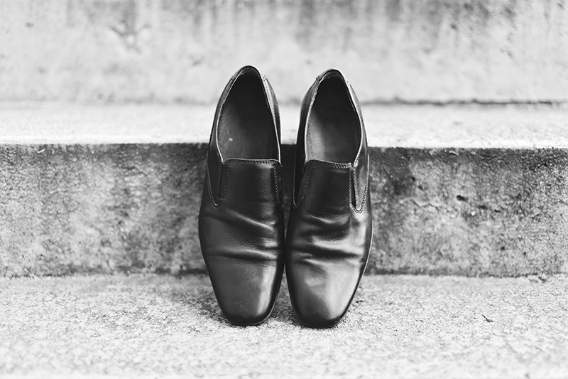 grooms shoes on cement