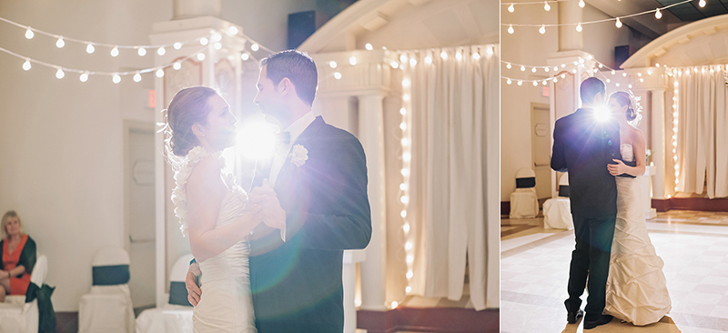 bride and groom first dance with light shining through