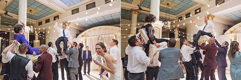bride and grooms parents raised high on chairs