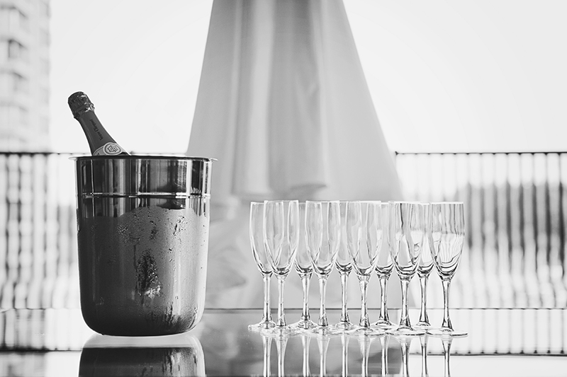 champagne on ice with wedding dress