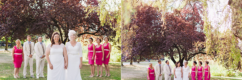 wedding party portraits with two brides