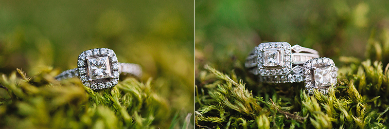 engagement/wedding rings in moss
