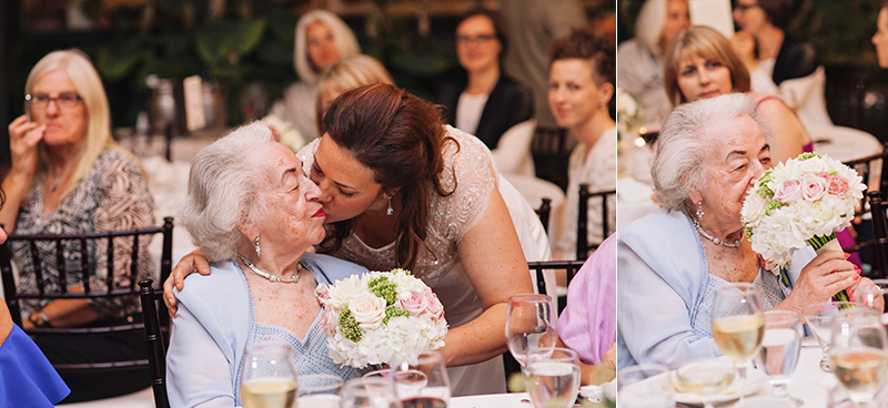 bride giving her bouquet to her grandmother