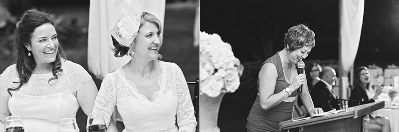 bridesmaid speech with smiling brides