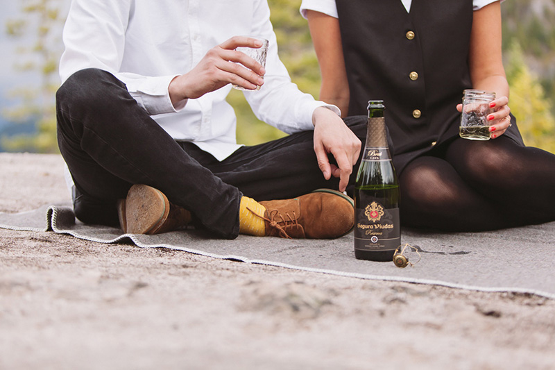 engaged couple with champagne