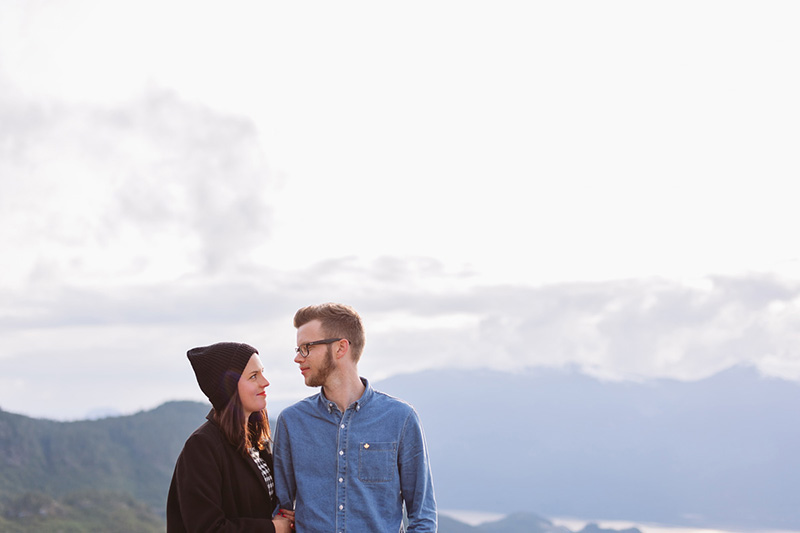 engaged couple in mountains
