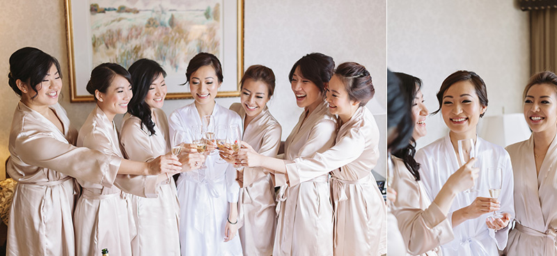 Vancouver wedding photography: sutton place hotel, bridal party toasting