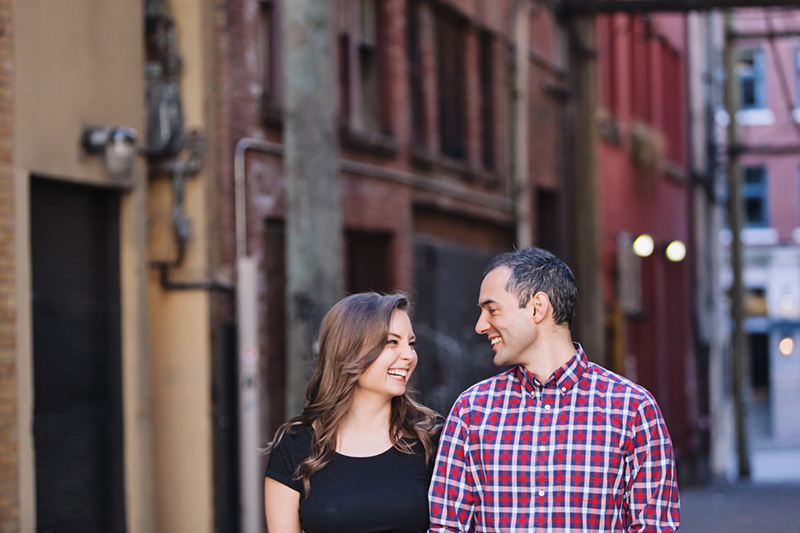 Engaged couple in Gastown