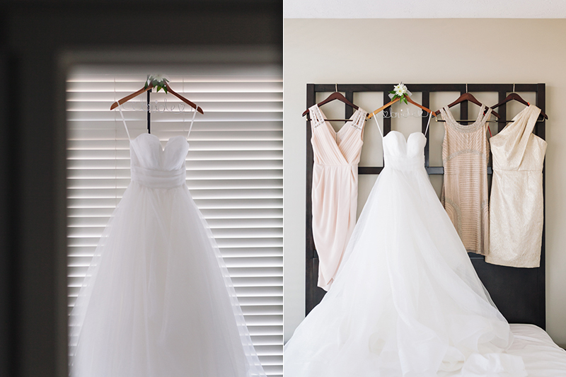 wedding dress hung by Vancouver wedding photographer