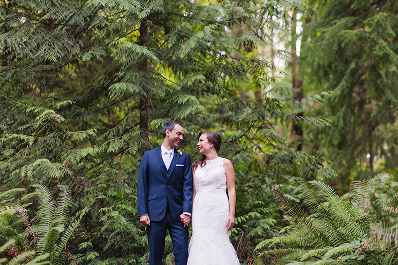 bride and groom portrait in forest