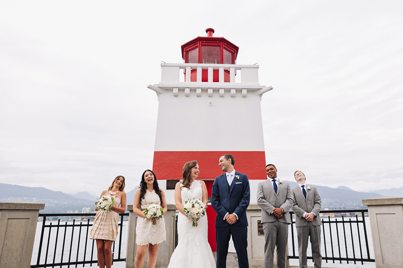 wedding party, lighthouse, Stanley Park