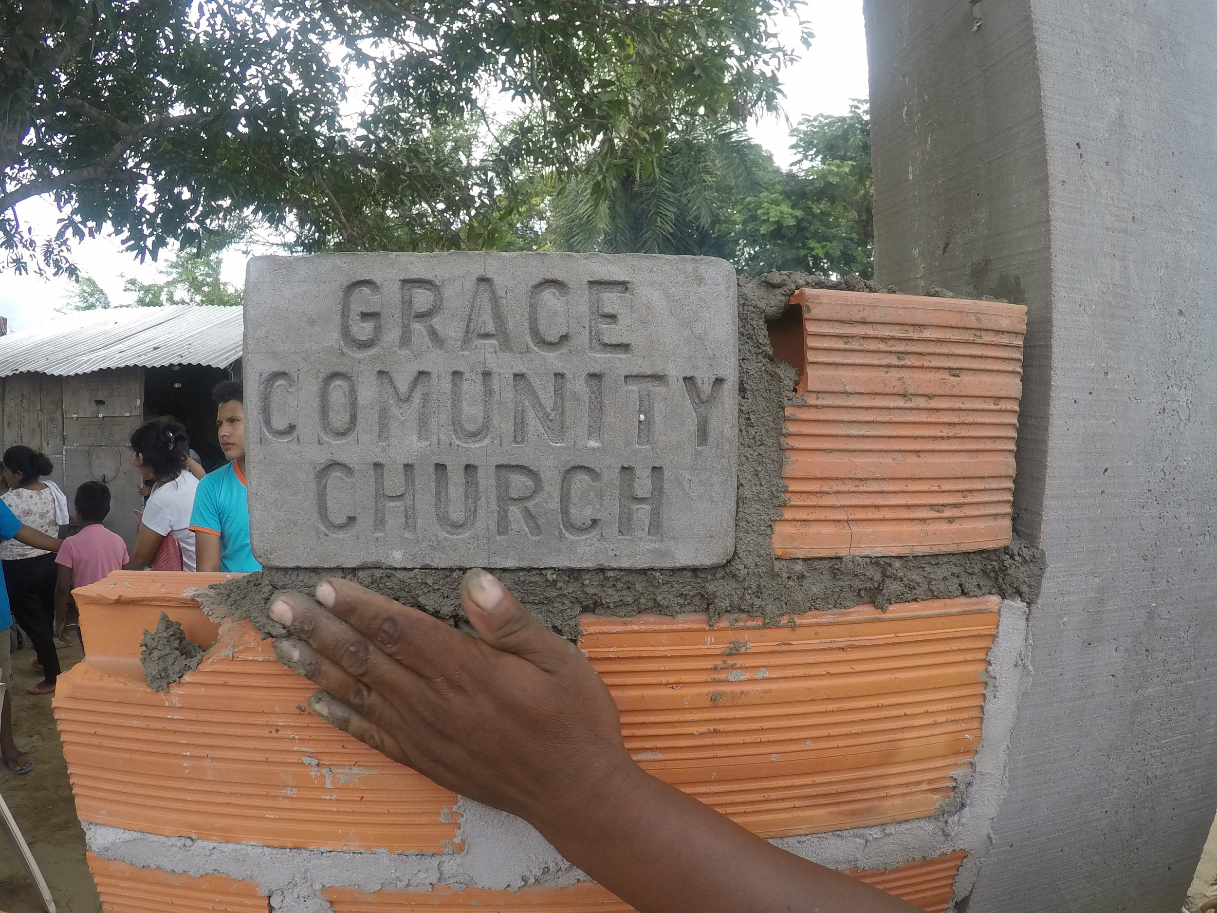 Special stone in the wall of our church plant
