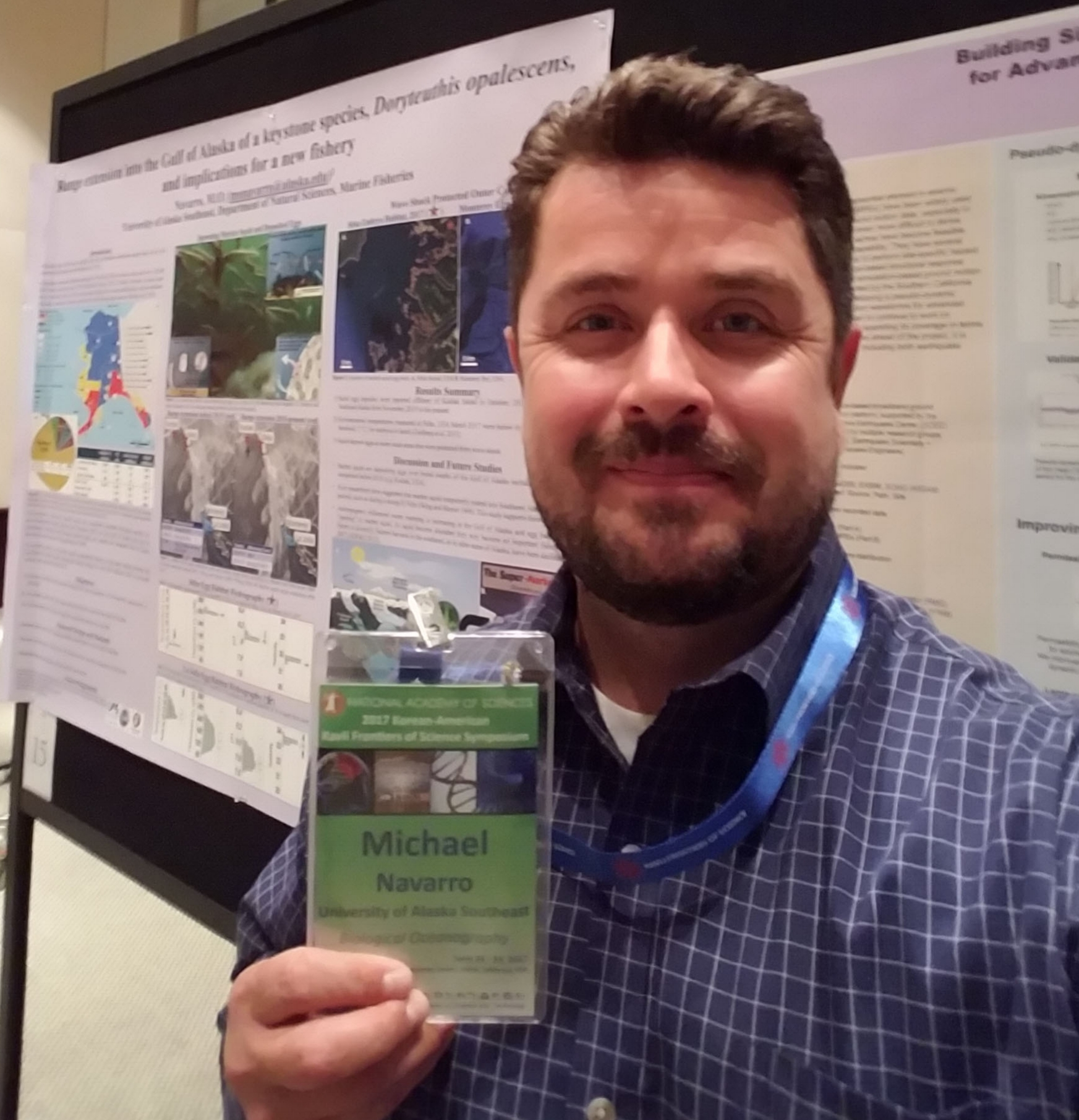 "At the National Academy of Sciences, Kavli Frontiers in Sciences Conference in Newport Beach (June 2017), Navarro was selected as a distinguished young scientist and gave a presentation, ""Range extension into the Gulf of Alaska of a keystone species,  Doryteuthis opalescens,  and implications for a new fishery."""